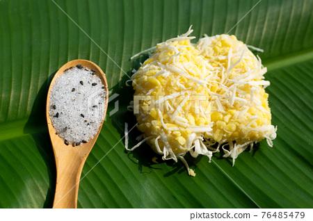 Mung bean rice crepe on banana leaf 76485479