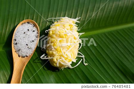 Mung bean rice crepe. Thai Dessert 76485481