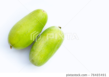 Winter melon in basket on white background. 76485491