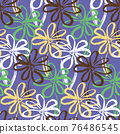 Abstract purple pattern with ink simple flowers 76486545