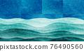 海浪日本紙背景 76490560