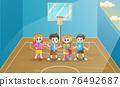 Happy school children in the basketball court 76492687