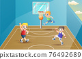 Happy children playing basketball at sport hall 76492689