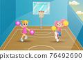 Cheerleaders dancing on basketball court 76492690