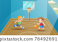 Children playing basketball at the court illustration 76492691