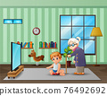Grandmother and grandson in living room 76492692