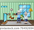 Illustration of grandparent standing in the living room 76492694