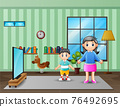 A mother and son in the tv room illustration 76492695