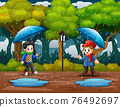 Rainy season with two boys carrying umbrella in the park illustration 76492697