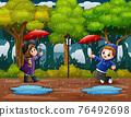 Illustration of a boy and girl under umbrella in rain 76492698
