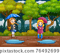 Cartoon two girls carrying umbrella under the rain in the forest 76492699