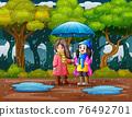 Children using umbrella under the rain 76492701