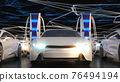 Charging for electric vehicles, close-up. Electric field on the background. Charging station. 3D illustration 76494194