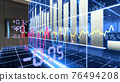 A halogram of stock charts. Glowing from the office table. 3d illustration 76494208