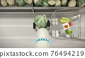 Automatic hand buys vegetables. Keeps fresh cabbage. 3D illustration 76494219
