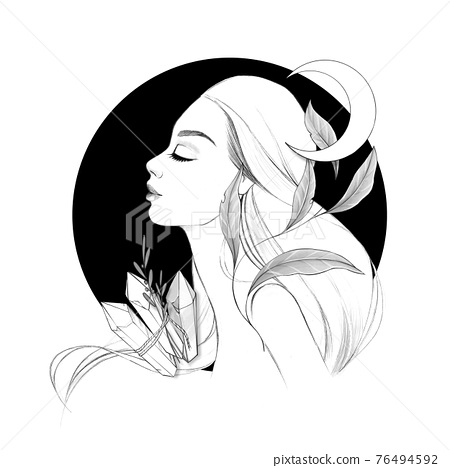 Witchcraft. Witch, magic crystal and moon. Black and white 76494592