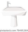 Cartoon vector illustration object bathroom sink 76495269