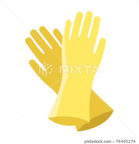 Cartoon vector illustration object yellow gloves 76495274