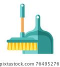 Cartoon vector illustration object housework equipment broomstick and dustpan 76495276