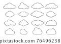 Outline clouds. Line cloud shape set. Vector black sky pictogram. 76496238