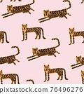 Leopard seamless pattern. Wild animal leopard print. Cartoon funny gepard. 76496276