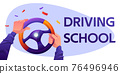 Driving school cartoon banner with driver hands 76496946