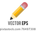Vector classic yellow pencil icon with sharpened tip, pink eraser 76497308