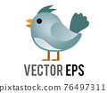 Vector blue generic bird, bluebird or cardinal icon with eye and grey month in side view 76497311