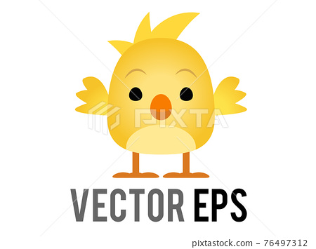 Vector yellow baby chicken, chick eye and orange month in side view 76497312