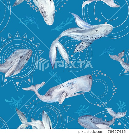 Space Whale Watercolor Pattern on blue background 76497416