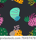 Bright underwater seamless pattern with beautiful corals. 76497478