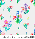 Seamless pattern with flowers, plant vector background. 76497480