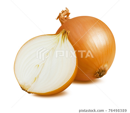 Whole and half onion isolated on white background 76498389