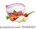 Purple onion, chili peppers, parsley and peeled garlic cloves isolated on white background 76498487