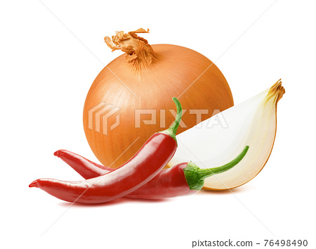 Onion and chili peppers isolated on white background. 76498490