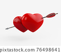 3D Rendering of glossy hearts pierced by arrow. Clipping path included. 76498641