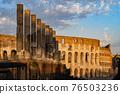 Colosseum and Via Sacra Columns at Sunset 76503236