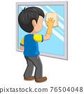 Cartoon little boy cleaning mirror 76504048