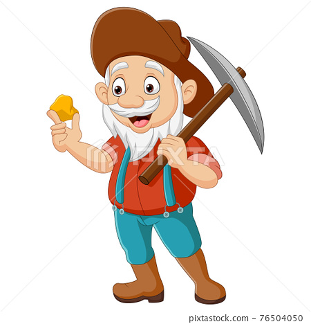 Cartoon prospector holding gold nugget and pickaxe 76504050