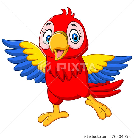 Cartoon funny baby macaw on white background 76504052