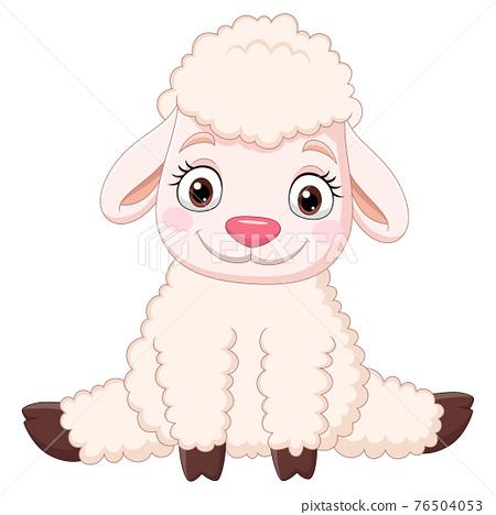 Cartoon funny baby sheep sitting 76504053