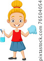 Cartoon little girl with sprayer bottle and rag 76504054