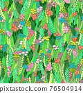 Blooming midsummer meadow seamless pattern. Painted flower field plant background for fashion 76504914