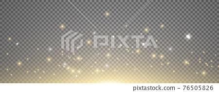 Sun light with sparkle on long banner. Gold sunrise effect on transparent background. Magic lens flare. Glitter star flash. Bright sky. Spotlight design. Christmas decoration. Vector illustration 76505826