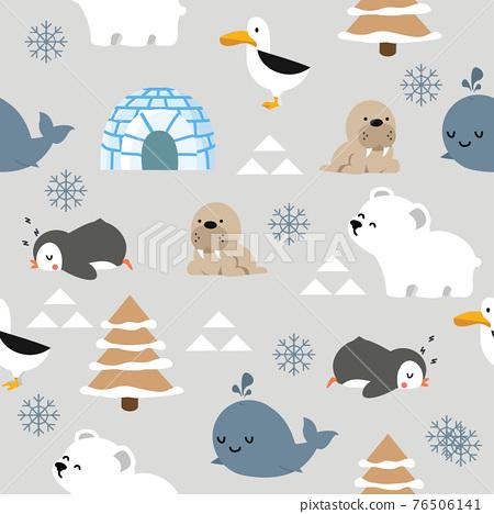 Cute animal arctic cartoon  seamless pattern 76506141