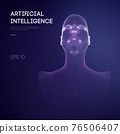 Artificial intelligence head, city human and innovations sciences fictions. Artificial technology human head concept. Cyborg background with artificial intelligence components, artificial intelligence 76506407