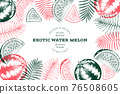 Watermelon and tropical leaves design template. Hand drawn vector exotic fruit illustration. Engraved style fruit frame. Retro botanical banner. 76508605