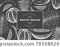 Melons with tropical leaves design template. Hand drawn vector exotic fruit illustration on chalk board. Retro style fruit banner. 76508620