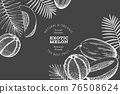 Melons with tropical leaves design template. Hand drawn vector exotic fruit illustration on chalk board. Retro style fruit banner. 76508624