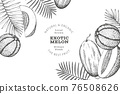 Melons with tropical leaves design template. Hand drawn vector exotic fruit illustration. Retro style fruit banner. 76508626